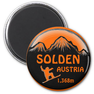 Solden Austria orange snowboard art magnet