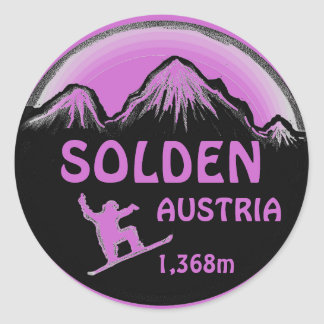 Solden Austria purple snowboard art stickers