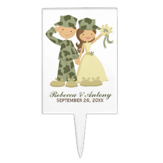 Soldier and Bride Military Wedding Cake Pick