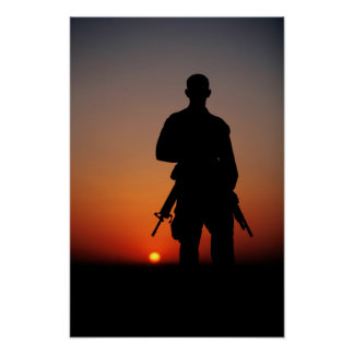 Soldier at Sunset Poster