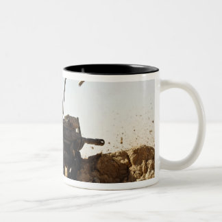 soldier engages enemy forces Two-Tone coffee mug