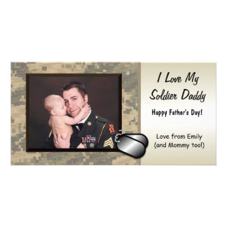 Soldier Fathers Day Customizable Personalised Photo Card