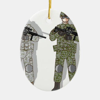 Soldier Full Gear Ceramic Oval Decoration