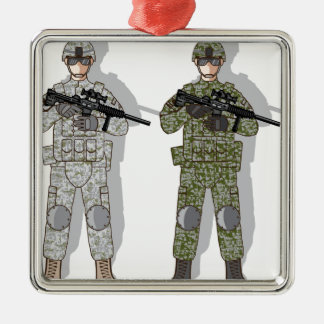 Soldier Full Gear Silver-Colored Square Decoration