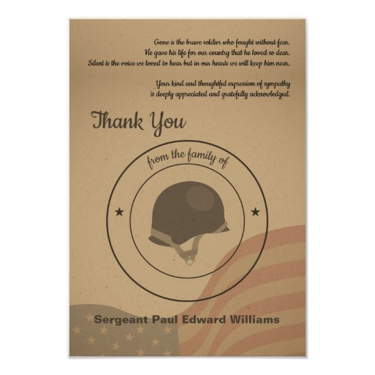 Soldier Funeral Thank You Card