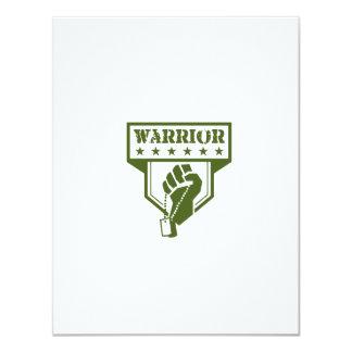 Soldier Hand Clutching Dogtag Warrior Crest Retro Card