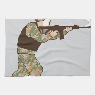 Soldier in action tea towel