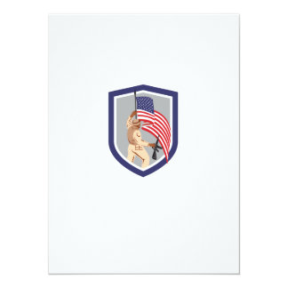 Soldier Military Serviceman Holding Flag Rifle Shi Personalized Invitations