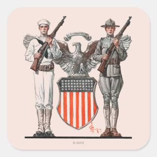 Soldier, Sailor and U.S. Shield Square Sticker