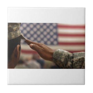 Soldier Salutes The United States Flag Ceramic Tile
