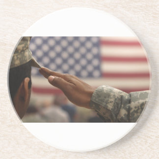Soldier Salutes The United States Flag Coaster