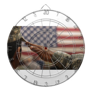 Soldier Salutes The United States Flag Dartboard