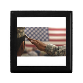 Soldier Salutes The United States Flag Gift Box