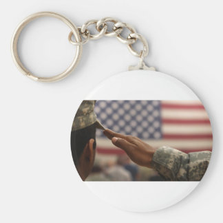 Soldier Salutes The United States Flag Key Ring