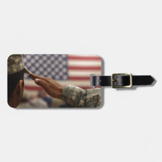 Soldier Salutes The United States Flag Luggage Tag