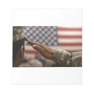 Soldier Salutes The United States Flag Notepad