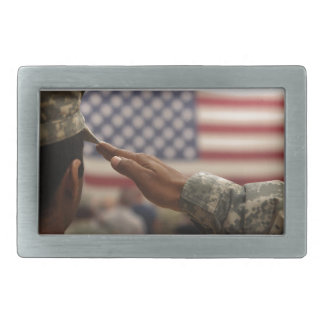 Soldier Salutes The United States Flag Rectangular Belt Buckle