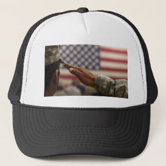 Soldier Salutes The United States Flag Trucker Hat