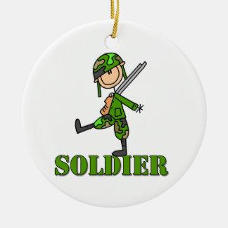 Soldier Stick Figure Ceramic Ornament