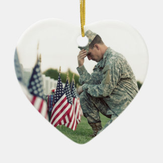 Soldier Visits Graves On Memorial Day Ceramic Ornament