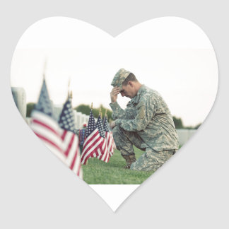 Soldier Visits Graves On Memorial Day Heart Sticker