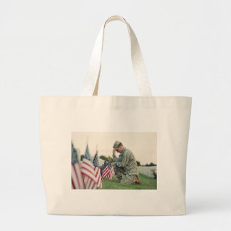 Soldier Visits Graves On Memorial Day Large Tote Bag