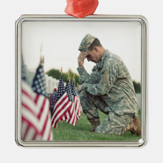 Soldier Visits Graves On Memorial Day Metal Ornament