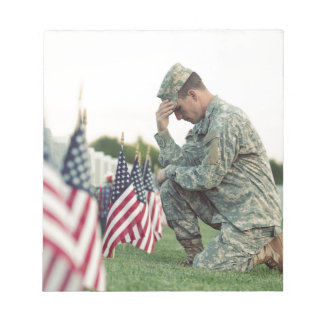 Soldier Visits Graves On Memorial Day Notepad