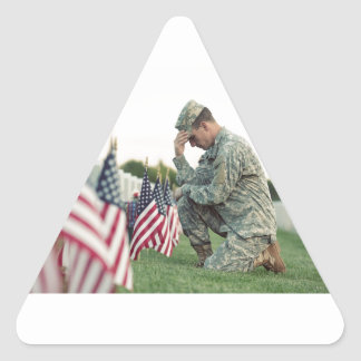 Soldier Visits Graves On Memorial Day Triangle Sticker