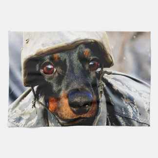 Soldier Wiener Dog Tea Towel