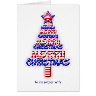 Soldier wife, patriotic Christmas tree Greeting Card