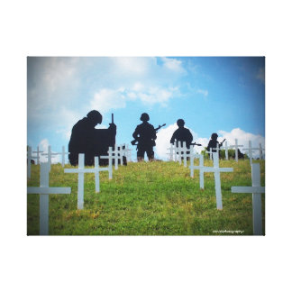 Soldiers and crosses stretched canvas print