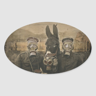 Soldiers Donkey and Gas Masks Oval Sticker