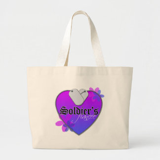Soldier's Fiancee Heart Shaped Military Dog Tags Jumbo Tote Bag