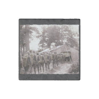 Soldiers in Line for Mail Stone Magnet