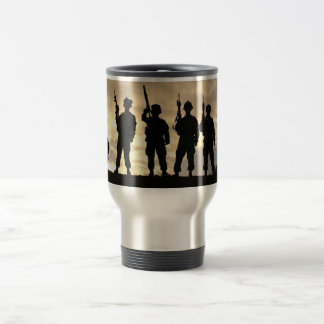 Soldiers in Silhouette Courageous Military Travel Mug