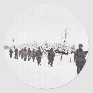 Soldiers Marching in Snow Classic Round Sticker