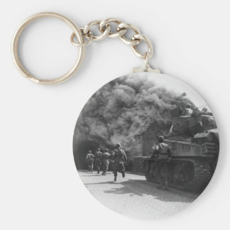 Soldiers of the 55th Armored Infantry World War II Basic Round Button Key Ring