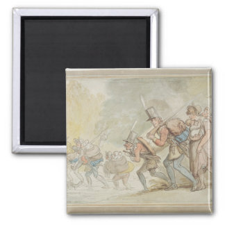 Soldiers on a March, 1805 (pen & ink and watercolo Fridge Magnet