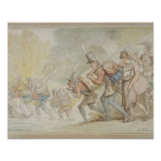 Soldiers on a March, 1805 (pen & ink and watercolo Poster