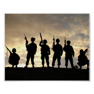 Soldiers on Patrol Military Silhouettes Poster