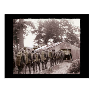 Soldiers Wait in Line for Mail WWI Postcard