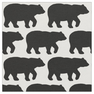 Solid Black Bear on White Background Fabric H
