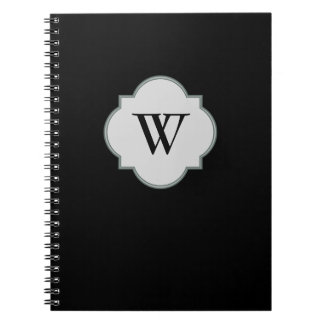 Solid Black Monogram template Notebooks