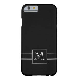 Solid Black with Monogram Barely There iPhone 6 Case