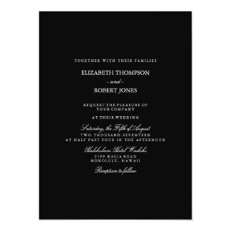 Solid Black with White Wedding Detail 14 Cm X 19 Cm Invitation Card