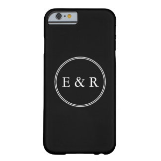 Solid Black with White Wedding Detail Barely There iPhone 6 Case