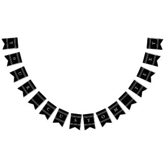 Solid Black with White Wedding Detail Bunting