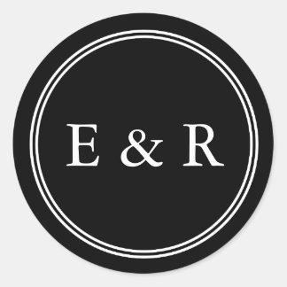 Solid Black with White Wedding Detail Round Sticker