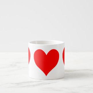 Solid Bright Red Cute Heart Espresso Cup